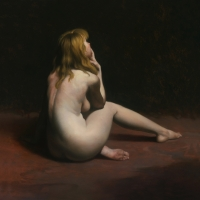 "Back View Nude 1988 14 x 14"" oil on linen"
