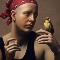 """Canery Watching 1994 14.5 x 13"""" oil on linen"""