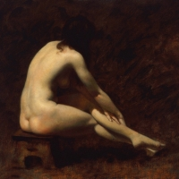 "Nude Seated on Stool 1986 8 x 9"" oil on linen"