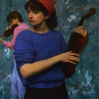 "Violins 1984 28 x 24"" oil on linen"