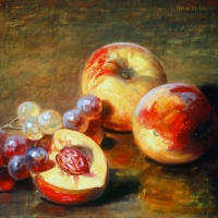 Oil Sketch, Peaches and Grapes 1