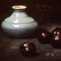 Oil Sketch, blue jar, plums