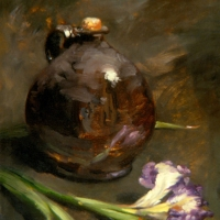 Oil Sketch, brown jug iris
