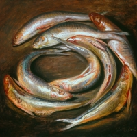 Oil Sketch, circle of fish 2