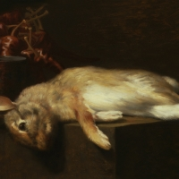 "Rabbit  1986  10 x 17""  oil on canvas"