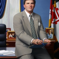 "Official State Portrait of the Governor of Maryland Robert L. Ehrlich, Jr. 2008 48 x 36"" oil on linen"