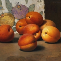 Apricots 8x9 1990 oil on panel