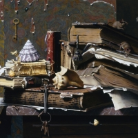 Books on Shells 1991 20x22 oil on linen