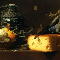 "Cheese Sausages  1984  16 x 30""  oil on linen"