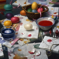 "Dyeing Eggs  1998  16 x 17""  oil on linen"