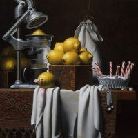 "Lemon Press 1986  24 x 25""  oil on linen"