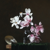 "Magnolia Blossoms  1985  42 x 31""  oil on linen"