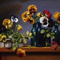 "Pansie With Bottles   2002  16 x 20""  oil on linen"